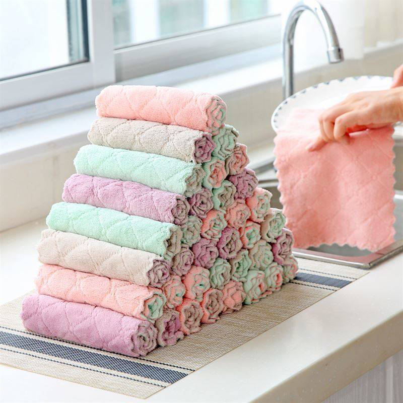 JJCC Family loaded double-sided two-color dish towels non-stick oil rag clean kitchen household cora