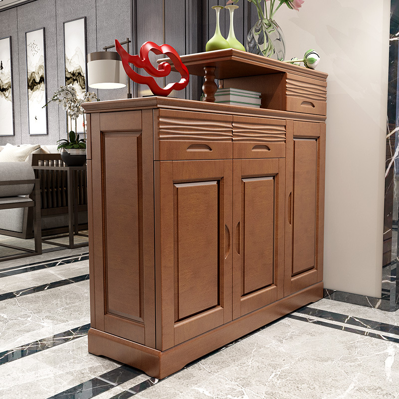 QINGMUCHUAN Solid wood entrance cabinet double-sided shoe cabinet home two-sided entrance entrance p