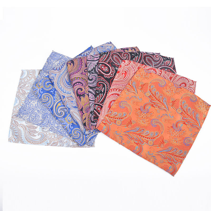 How happy Fashionable casual jacquard pocket towel polyester silk cashew flower series suit square