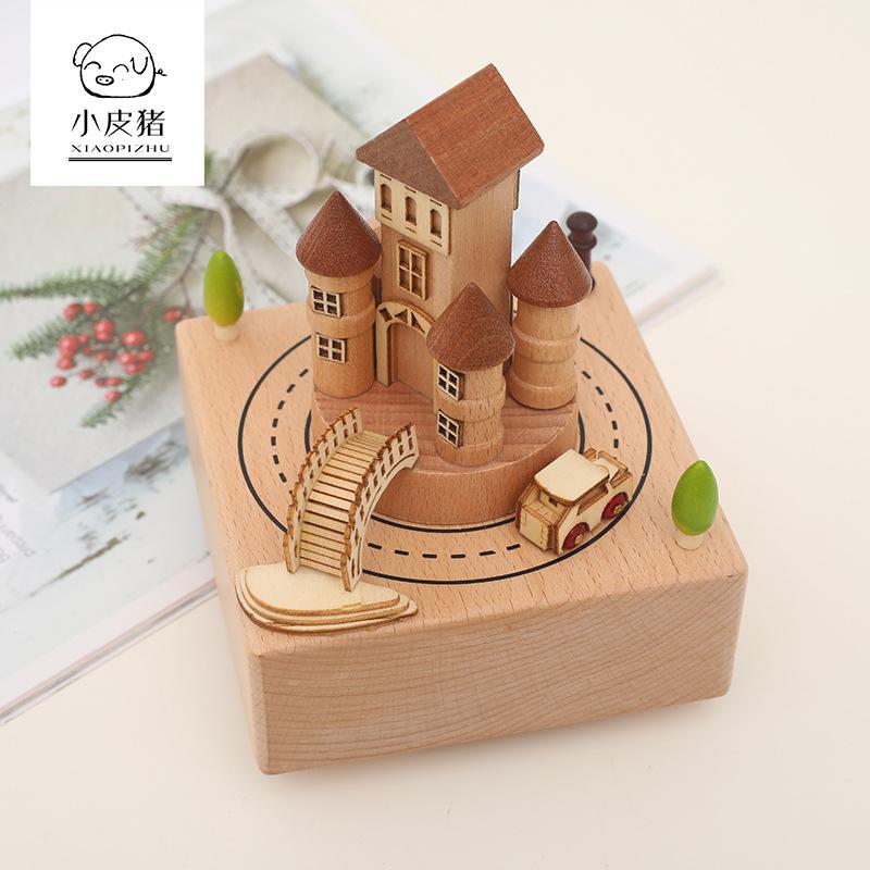XIAOPIZHU Đồ trang trí bằng gỗ Trang chủ Sáng tạo Quà tặng Carousel Thủ công Ngày Valentine Quà tặng