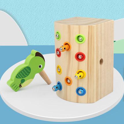 Đồ chơi bằng gỗ  Chim gõ kiến trẻ em bắt sâu bướm đồ chơi câu cá từ bé Montessori giáo dục mầm non