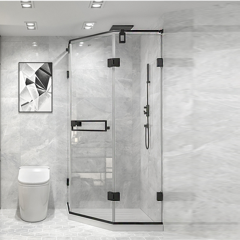Shower room diamond type simple bath shower room bathroom glass partition custom minimalist black fr