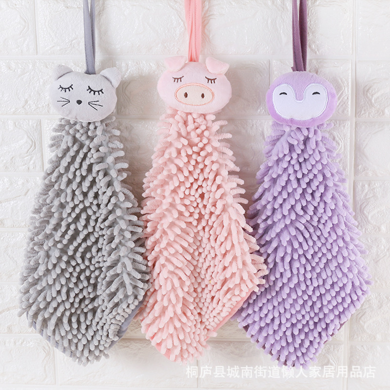 XINZHISHANG The letter is still cartoon chenille wipes towels bathroom toilet kitchen hanging absorb