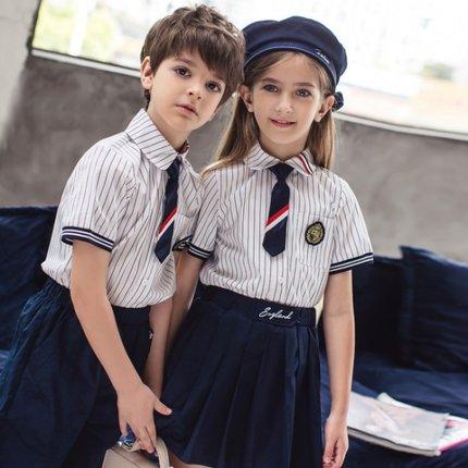 Áo thun trẻ em  Đồng phục học sinh phong cách Anh phù hợp với mùa hè mẫu giáo đồng phục giáo viên qu