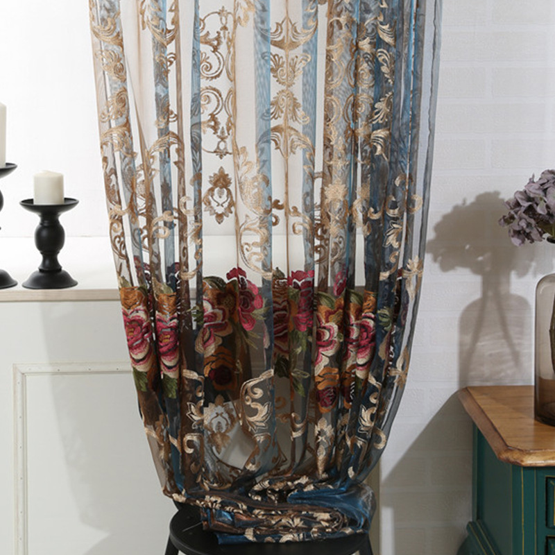 Italian cashmere European-style living room bedroom screens luxury water-soluble embroidery curtains
