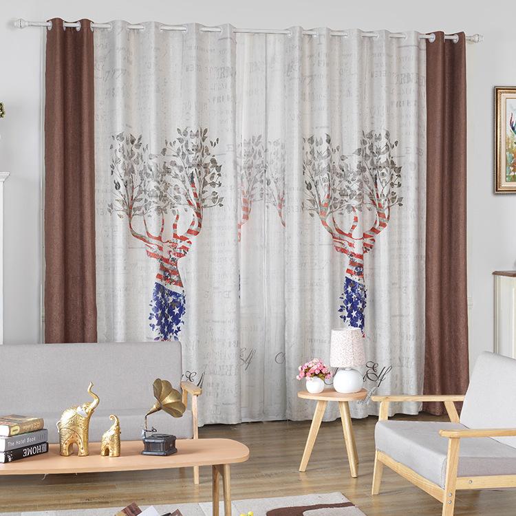 MZSH Korean digital printing curtain fabric cartoon polyester shading fabric curtains new living roo