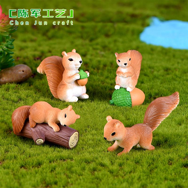 HYYY Cảnh quan Mini Rêu vi cảnh dễ thương chuột sóc động vật trang trí thủ công trang trí cây cảnh m
