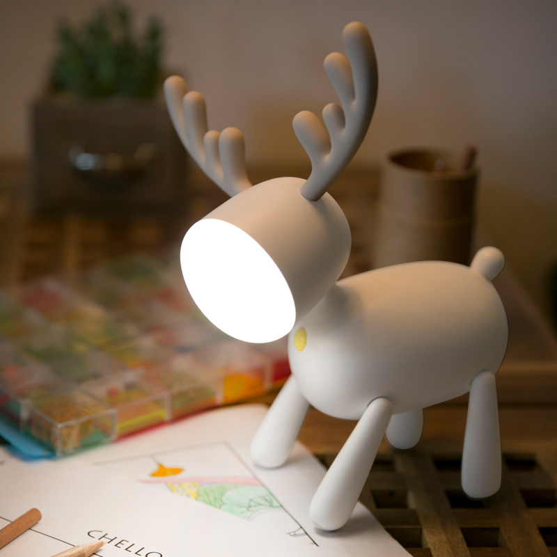 YIXIU Christmas elk led table lamp annual meeting gift rechargeable silicone night light with sleepi