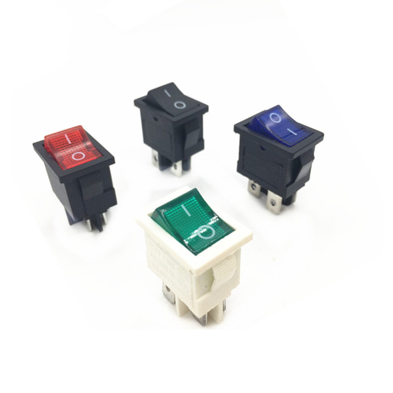 HONGCHENG Supply rocker switch KCD1-104 four-pin with light RS601D same paragraph 15*21 power switch