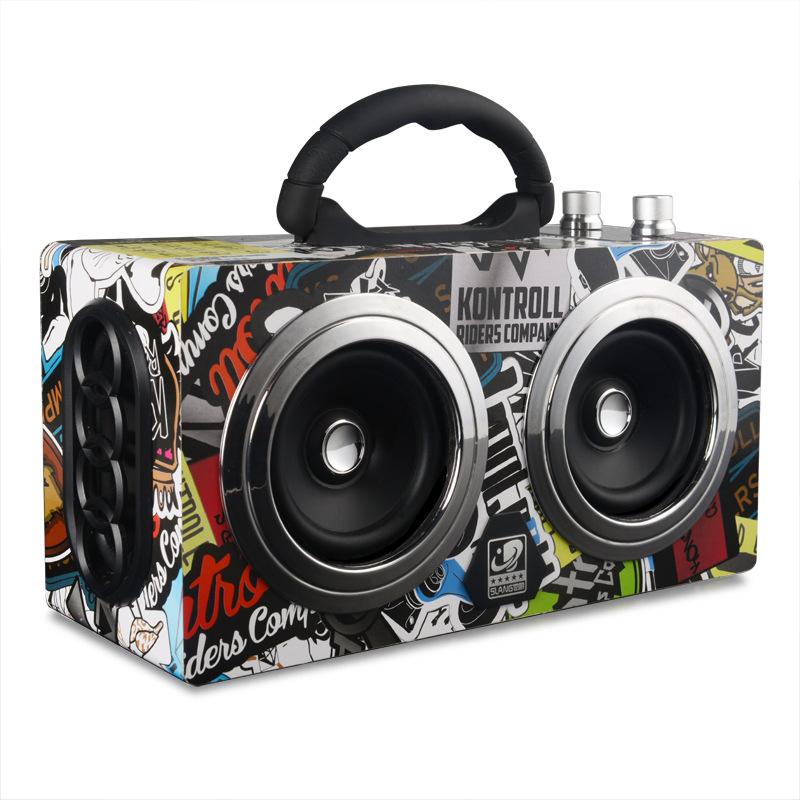 M8 bluetooth speaker outdoor portable portable multi-function retro wooden audio TV square dance hip