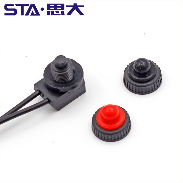 STA KP-107 waterproof switch IP67 button switch with wire with black/red rubber cap ZE-107S