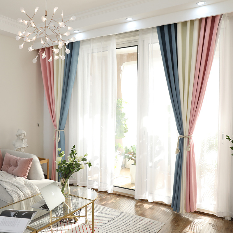 New spring products Schiffne stitching blackout curtains finished curtain fabric living room bedroom