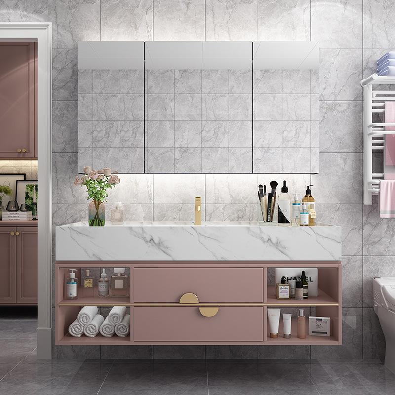 MUJIN Dirty pink bathroom cabinet combination light luxury bathroom washbasin pastoral wall-mounted