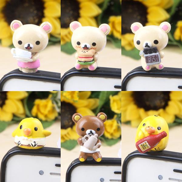 SM Rilakkuma Teacup Bear Gourmet Cute Card Set Anime 3.5mm Universal Cartoon Mobile Phone Dust Plug