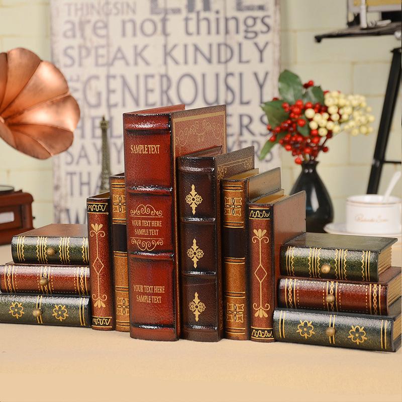 Đồ trang trí bằng gỗ Retro giả trang trí giả trang trí phong cách châu Âu nghiên cứu giá sách trang