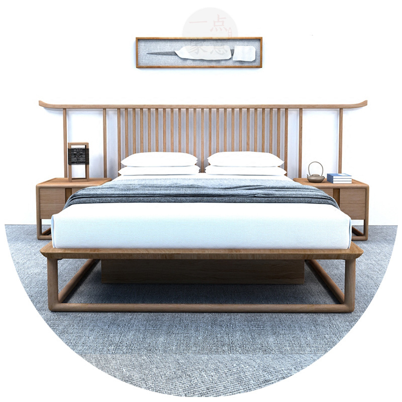 XINLINLONG New Chinese-style home bedroom Zen wood bed hotel simple 1.8 meters big bed apartment bed