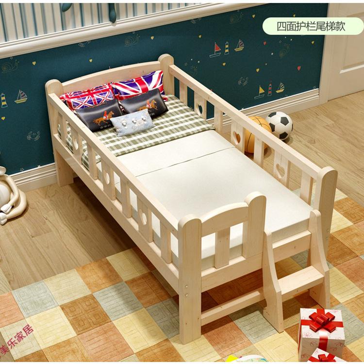 TONGBAO Nôi trẻ sơ sinh Giường gỗ rắn cho trẻ em với lan can giường đơn thông phim hoạt hình cũi bé