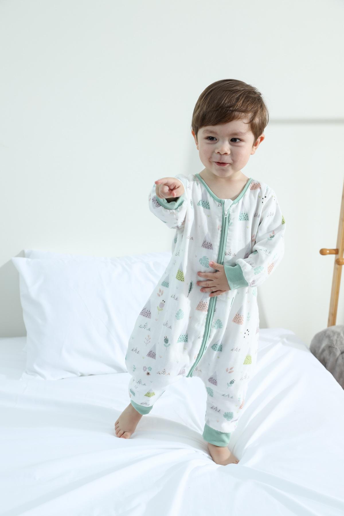 MJBE Túi ngủ trẻ em Em bé đầu tiên bốn lưng hai túi ngủ gạc phần bông mỏng tách chân ngủ trẻ em chốn