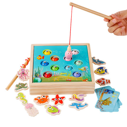 Montessori Đồ chơi bằng gỗ  trẻ em giáo dục mầm non câu đố 1-2-3 nữ một tuổi bé câu cá đồ chơi bé tr