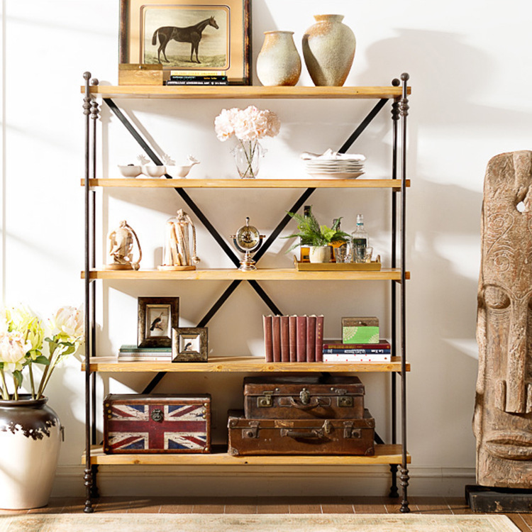 American retro furniture wrought iron kitchen shelf four-layer solid wood kitchen living room shelf