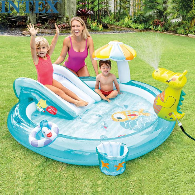 INTEX bể bơi trẻ sơ sinh 57165 bé chơi bể bơi bể bơi rung cùng đồ chơi bể bơi bóng đại dương bể cá s