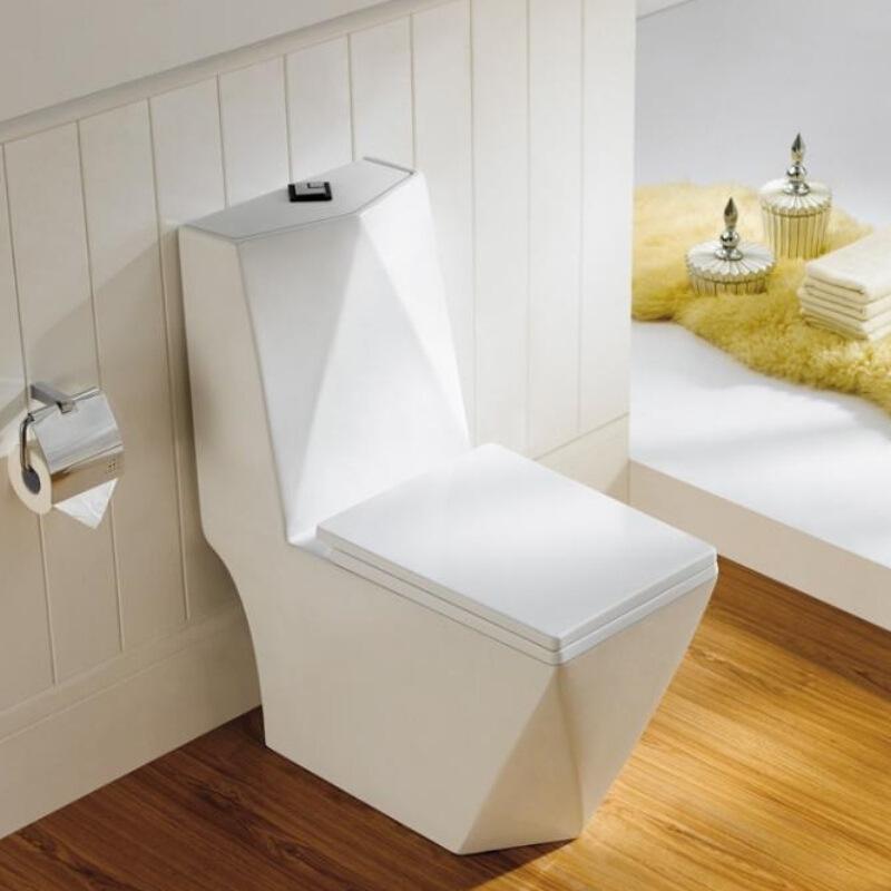 JINBAIJIA Household quick flush diamond toilet siphon water saving mute slow down toilet ceramic san
