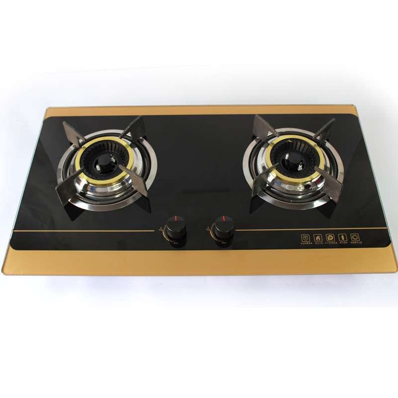 Household gas cooker manufacturer specializes in making embedded glass double stove stainless steel