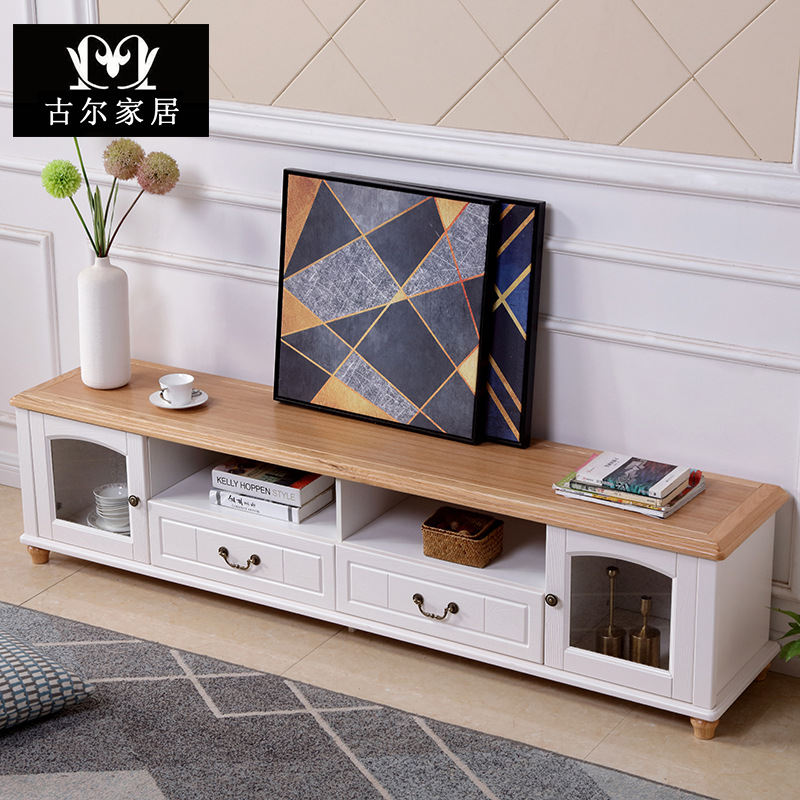 GOUP TV cabinet Mediterranean style solid wood simple American floor cabinet small apartment 2M vide