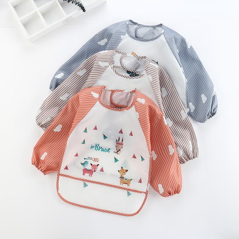 Áo khoác Áo chống thấm nước mới cho bé ăn áo choàng yếm bảo vệ quần áo trẻ em tạp dề túi gạo mùa thu