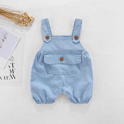 Trang phục Jean trẻ em  Quần yếm mỏng cho bé mùa hè 2020 quần áo trẻ em cho nam và nữ Quần áo trẻ em