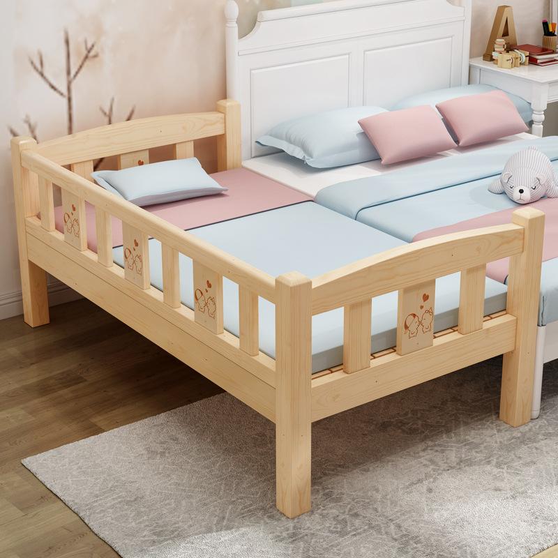 Child time Nôi trẻ sơ sinh Gỗ rắn trẻ em giường đơn bé gái giường công chúa cũi khâu giường lớn giườ