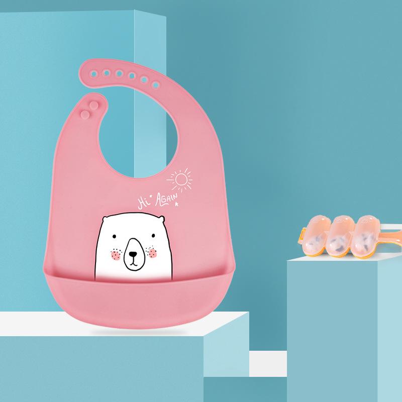 Kiddopotamus Khăn yếm Silicone bé bé ăn bib trẻ em không thấm nước ba chiều túi bib lớn trẻ em nước