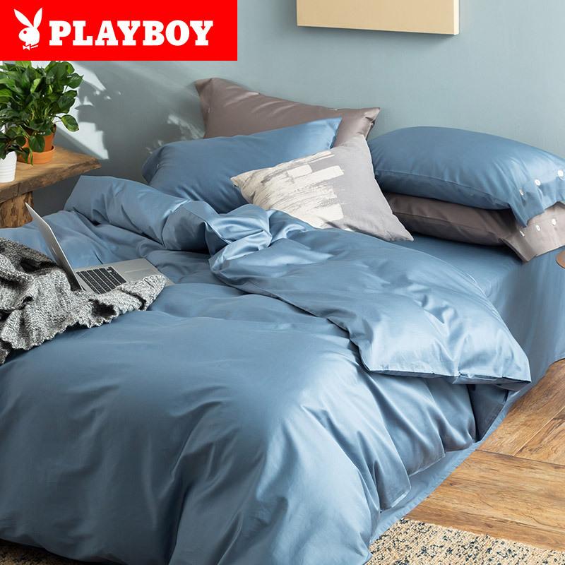 PLAYBOY Bộ drap giường Khách sạn năm sao 60 mảnh cống satin bốn mảnh bộ bông đặt bộ chăn màu rắn chă