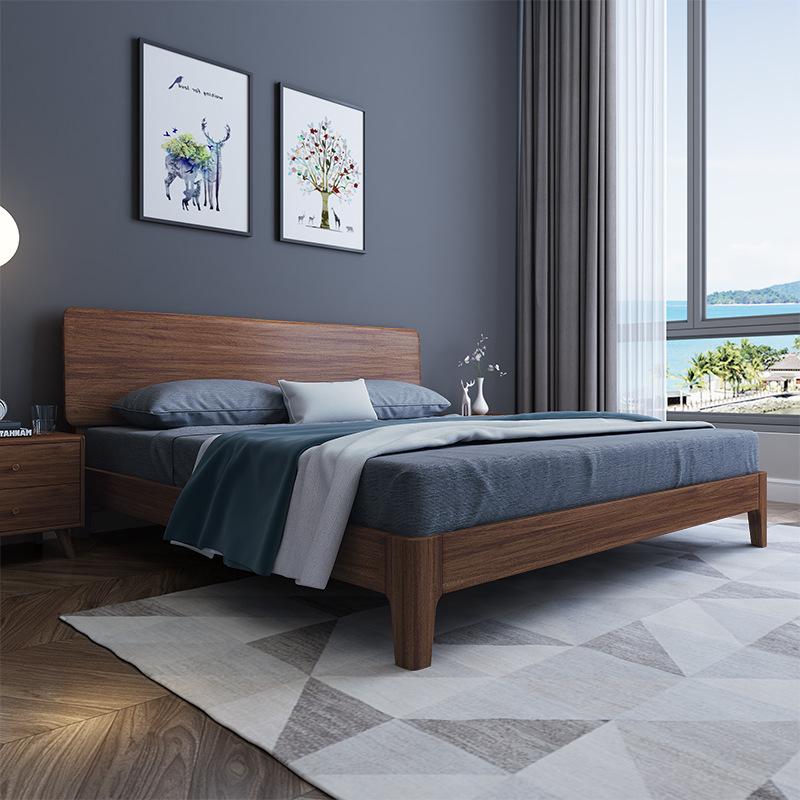 Modern minimalist golden walnut solid wood bed 1.8 meters master bedroom Nordic light luxury double
