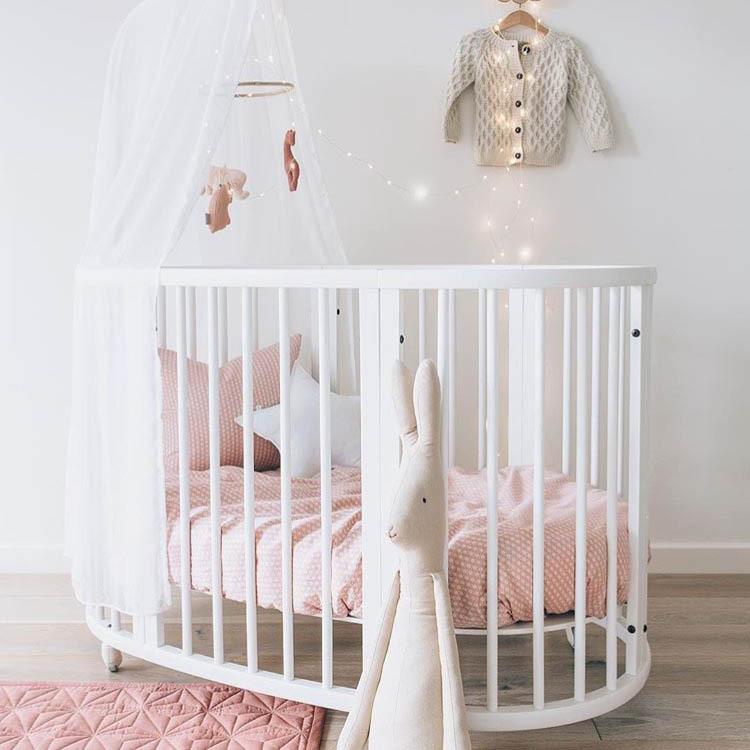 BOLIN Nôi trẻ sơ sinh Giường cũi gỗ rắn Bolin giường tròn đa năng nối giường bb giường đôi giường gi