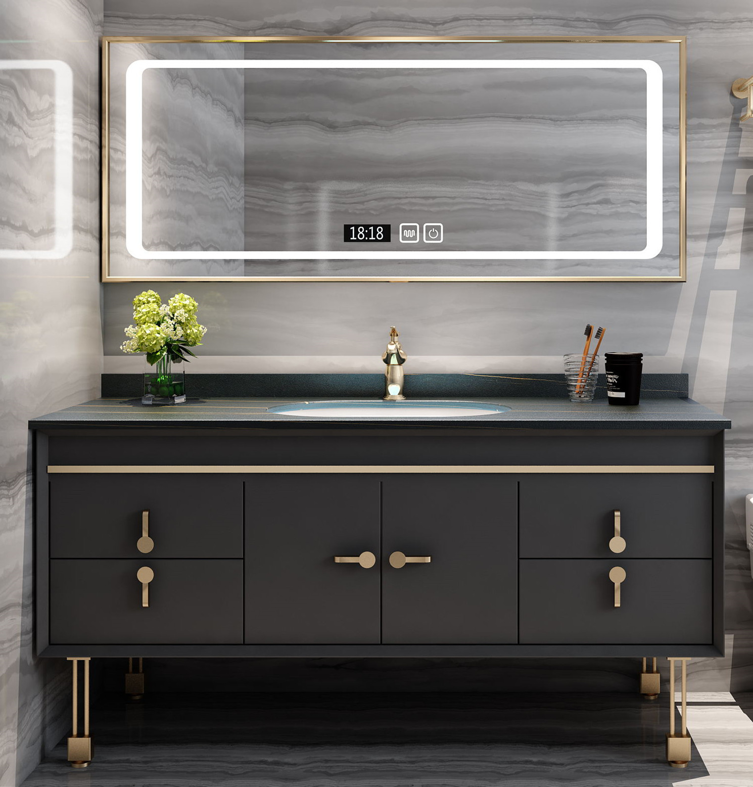 KAFENJIE Modern light luxury slate bathroom cabinet combination Nordic intelligent light luxury wash