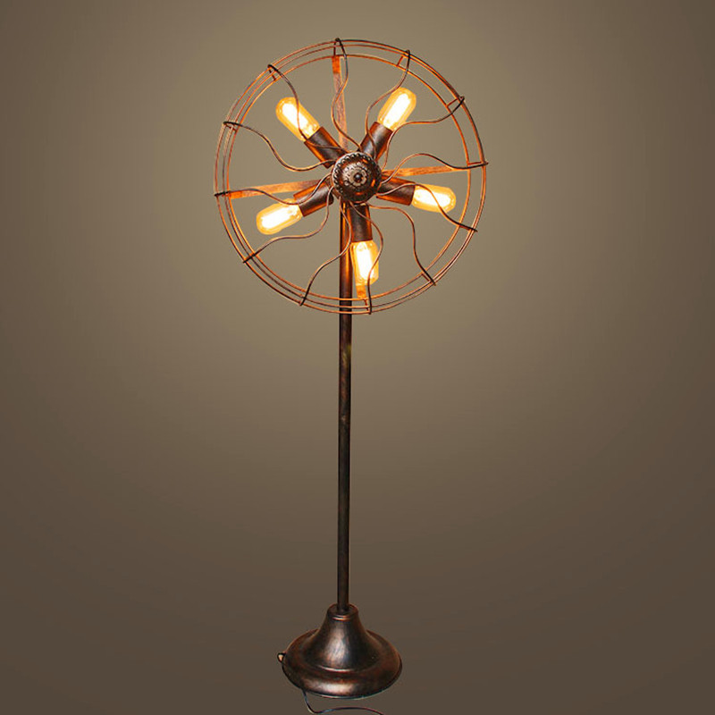 MLZG Retro industrial style floor lamp living room bedroom lamp balcony bar creative fan lamp Americ