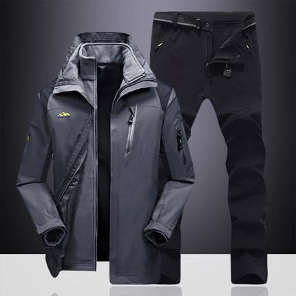 Quần áo leo núi Tấn công ngoài trời nam thương hiệu ba trong một mùa thu và mùa đông bộ đồ hai mảnh