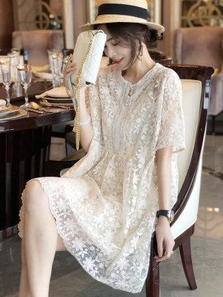 Phong cách Hàn Quốc Váy Âu Châu ren trắng cỡ lớn công chúa lỏng váy nữ a-line phiên bản Hàn Quốc 202