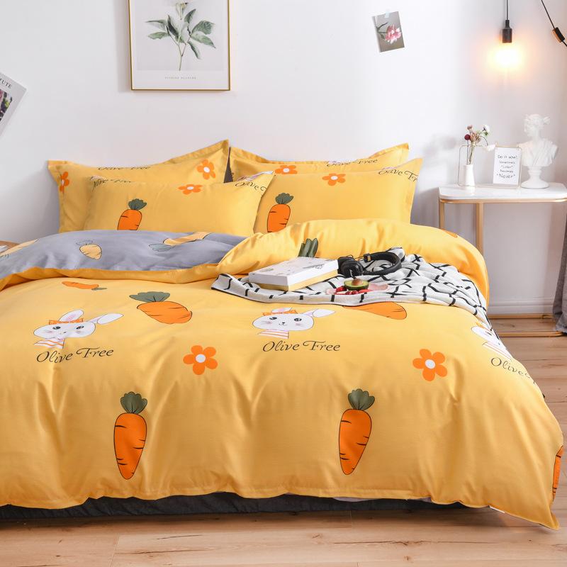 KAIOU Bộ drap giường Phong cách Bắc Âu bốn mảnh mùa xuân và mùa hè chăn bao gồm lưới màu đỏ phần tấm