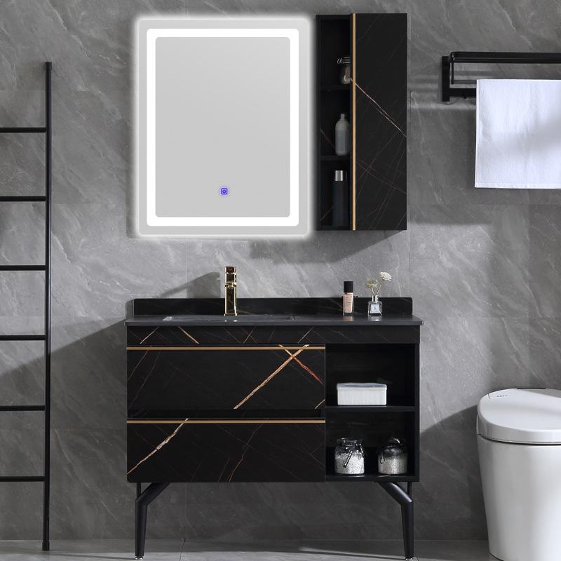 YASIMEI Slate bathroom cabinet floor-standing washbasin solid wood bathroom cabinet combination mirr