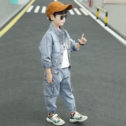 Trang phục Jean trẻ em  Quần áo trẻ em nam mùa thu 2020 Trẻ em mới phiên bản Hàn Quốc mùa xuân và mù