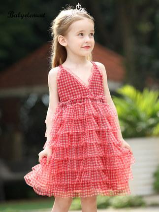 Trang phục trẻ em mùa hè  Váy bé gái mùa hè 2020 trẻ em nước ngoài mới mặc bé gái mùa hè treo vải tu