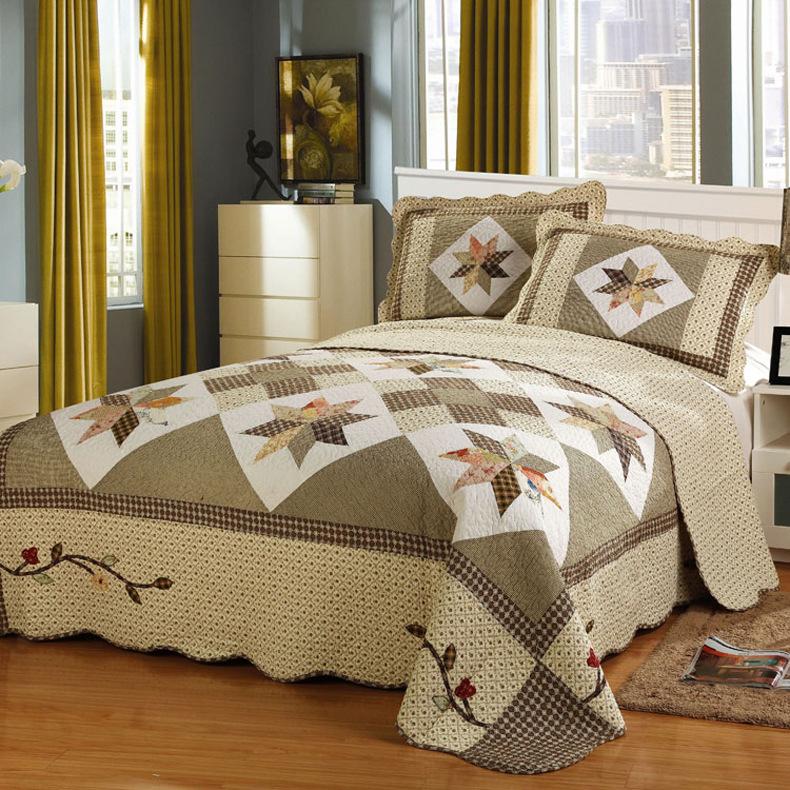 Bộ drap giường Đồ gia dụng thân thiện với da giặt bông mùa hè mát điều hòa chăn bông giường bốn mảnh