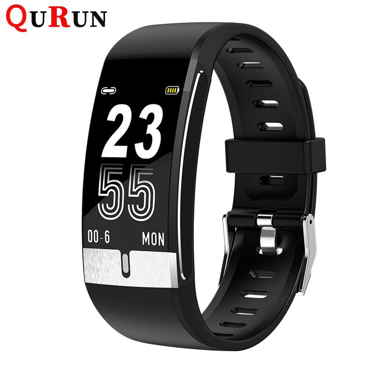 QuRuN 2020 new E66 smart bracelet for measuring body temperature, ECG bracelet, blood pressure, bloo