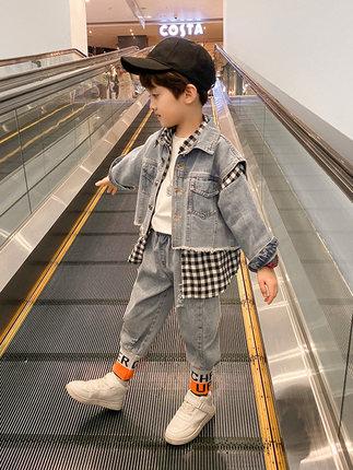 Trang phục Jean trẻ em  Quần áo trẻ em nam mùa xuân và mùa thu đẹp trai phù hợp với mùa thu 2020 Quầ