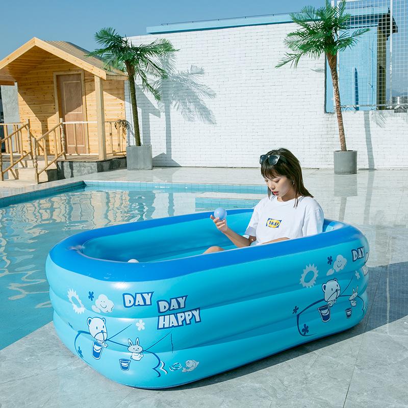 Mandla bể bơi trẻ sơ sinh Bể bơi PVC trẻ em mái chèo bể bơi vuông bơm hơi bể bơi cung cấp màu sắc ng
