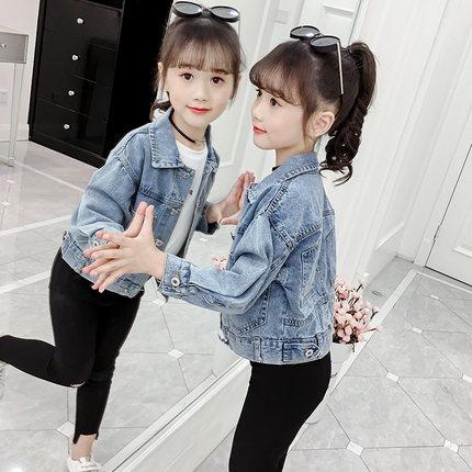Trang phục Jean trẻ em  Áo khoác denim cho bé gái, kiểu dáng mỏng, mùa xuân và thu đông mới