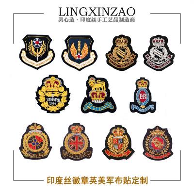 LINXINZAO phù hiệu vải Ấn Độ lụa thêu nhãn dán tùy chỉnh cao cấp Ấn Độ thêu thủ công đồng phục kim l