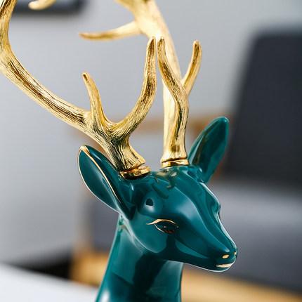 Đồ trang trí bằng gốm sứ  Lucky Deer Gốm trang trí Món quà Thủ công Sáng tạo Trang trí nội thất Châu